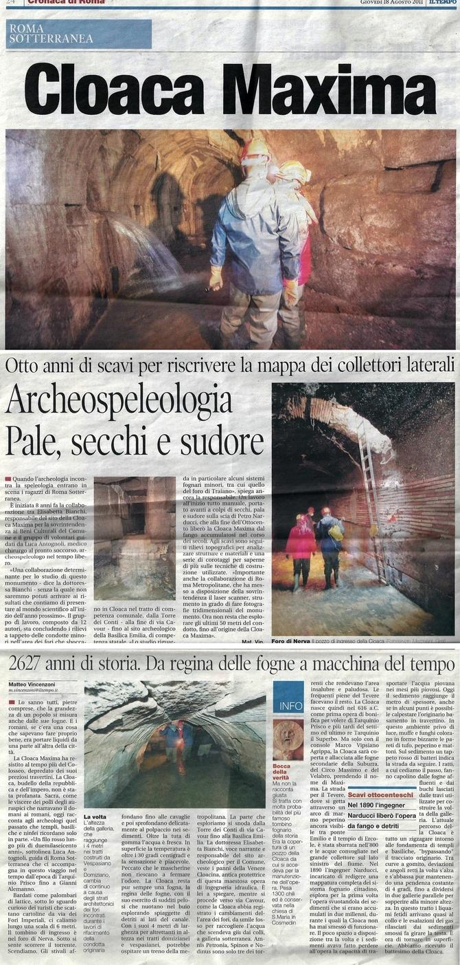 Cloaca Maxima: archeospeleologia, pale, secchi e sudore