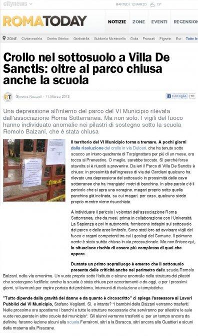 Crollo nel sottosuolo a Villa de Sanctis: oltre al parco chiusa anche la scuola