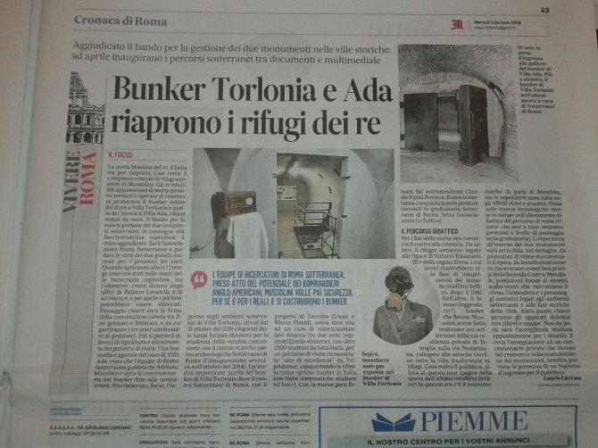 Bunker Torlonia e Ada, riaprono i rifugi dei re