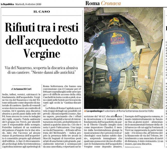 Rifiuti tra i resti dell'Acquedotto Vergine