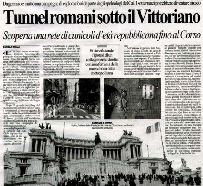 Tunnel romani sotto al Vittoriano